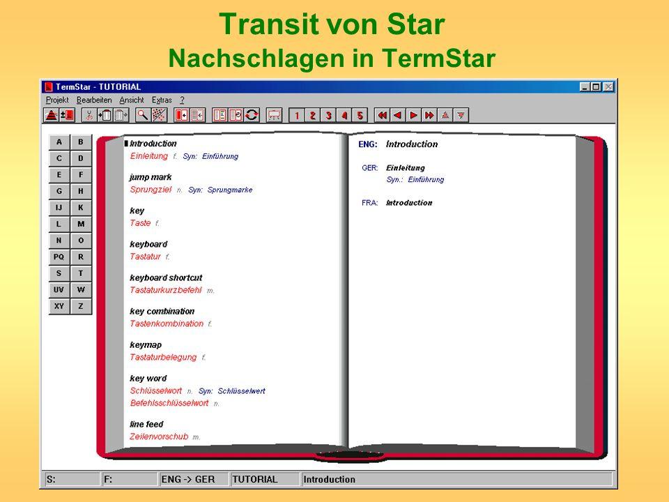 Transit von Star Nachschlagen in TermStar