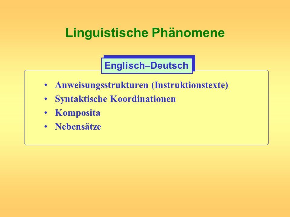 Linguistische Phänomene Anweisungsstrukturen (Instruktionstexte) Syntaktische Koordinationen Komposita Nebensätze Englisch–Deutsch