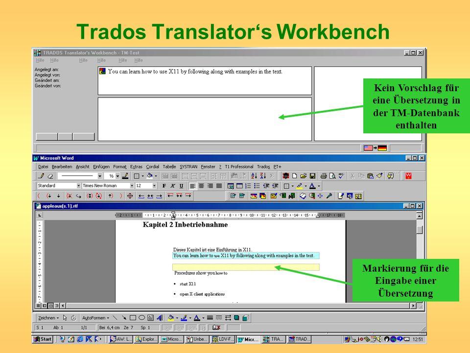 Kein Vorschlag für eine Übersetzung in der TM-Datenbank enthalten Markierung für die Eingabe einer Übersetzung
