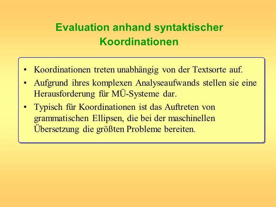 Evaluation anhand syntaktischer Koordinationen Koordinationen treten unabhängig von der Textsorte auf. Aufgrund ihres komplexen Analyseaufwands stelle