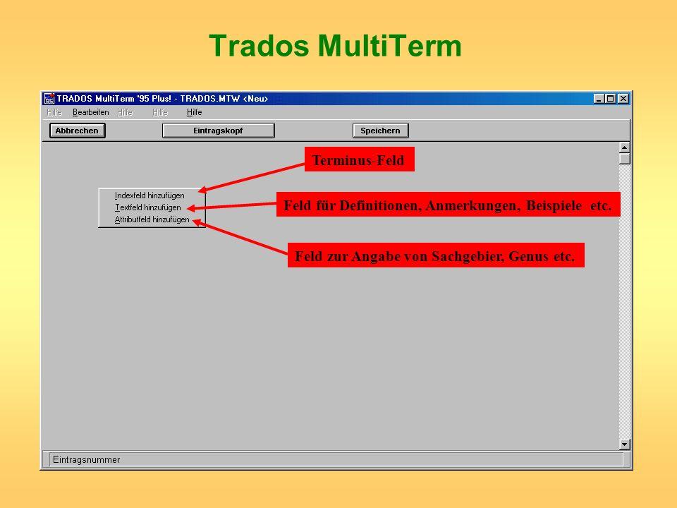 Terminus-Feld Feld für Definitionen, Anmerkungen, Beispiele etc. Feld zur Angabe von Sachgebier, Genus etc.