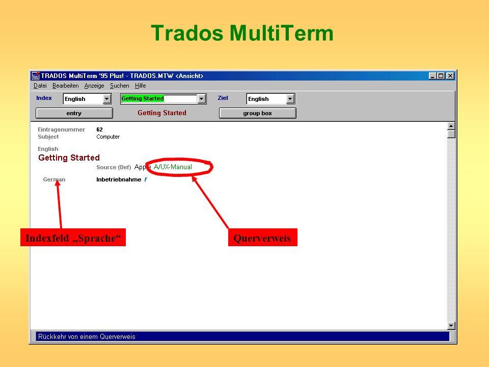 Trados MultiTerm Indexfeld SpracheQuerverweis