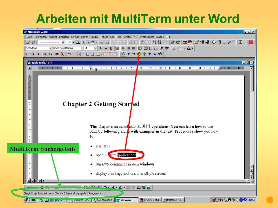 Arbeiten mit MultiTerm unter Word MultiTerm Suchergebnis