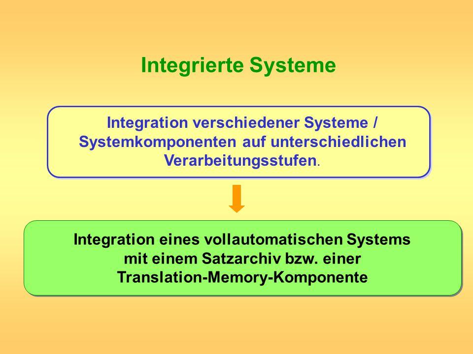 Integrierte Systeme Integration verschiedener Systeme / Systemkomponenten auf unterschiedlichen Verarbeitungsstufen. Integration eines vollautomatisch