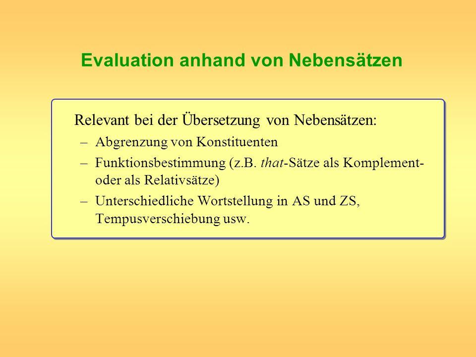 Evaluation anhand von Nebensätzen Relevant bei der Übersetzung von Nebensätzen: –Abgrenzung von Konstituenten –Funktionsbestimmung (z.B. that-Sätze al