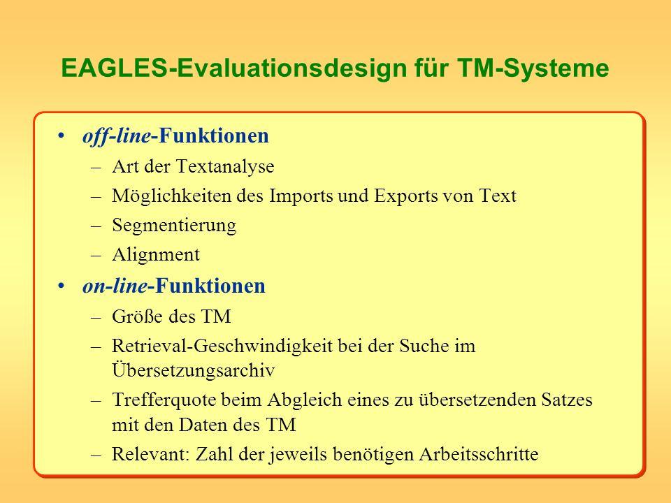 EAGLES-Evaluationsdesign für TM-Systeme off-line-Funktionen –Art der Textanalyse –Möglichkeiten des Imports und Exports von Text –Segmentierung –Align