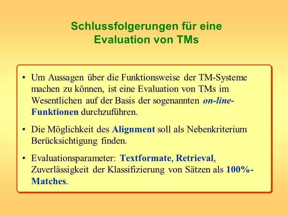 Schlussfolgerungen für eine Evaluation von TMs Um Aussagen über die Funktionsweise der TM-Systeme machen zu können, ist eine Evaluation von TMs im Wes