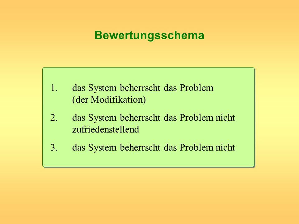 Bewertungsschema 1.das System beherrscht das Problem (der Modifikation) 2.das System beherrscht das Problem nicht zufriedenstellend 3.das System beher
