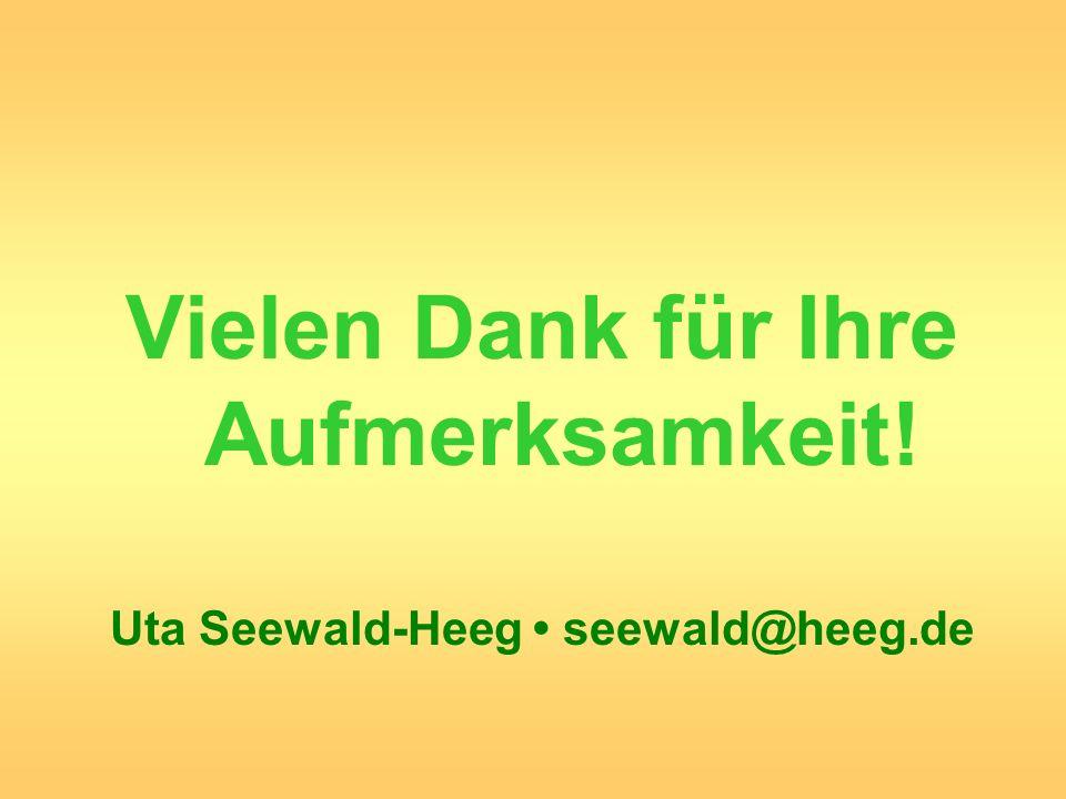 Vielen Dank für Ihre Aufmerksamkeit! Uta Seewald-Heeg seewald@heeg.de