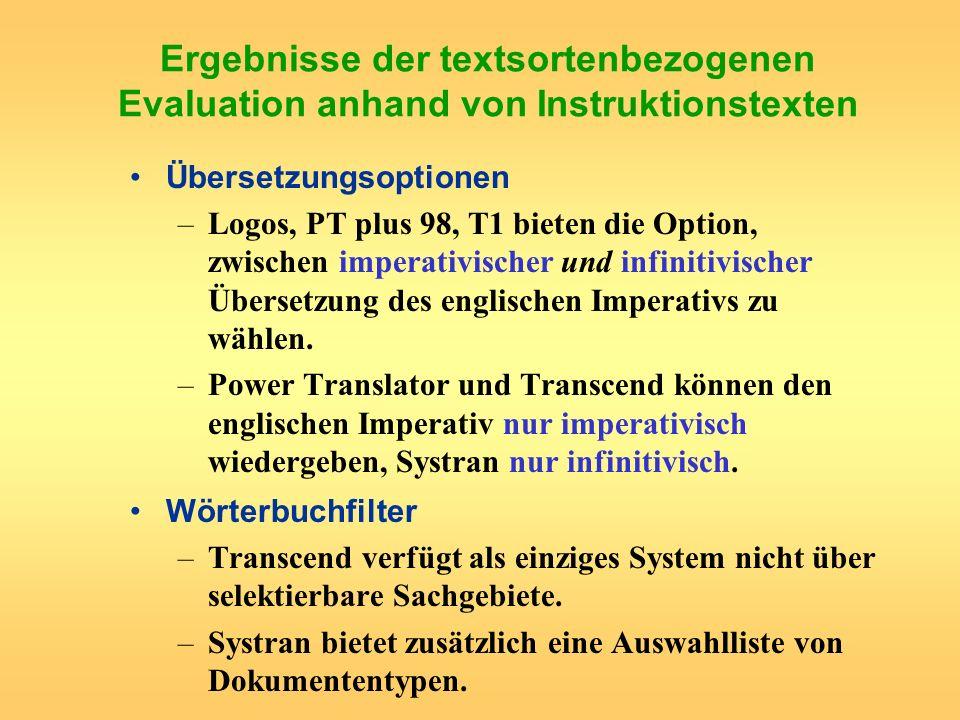 Ergebnisse der textsortenbezogenen Evaluation anhand von Instruktionstexten Übersetzungsoptionen –Logos, PT plus 98, T1 bieten die Option, zwischen im