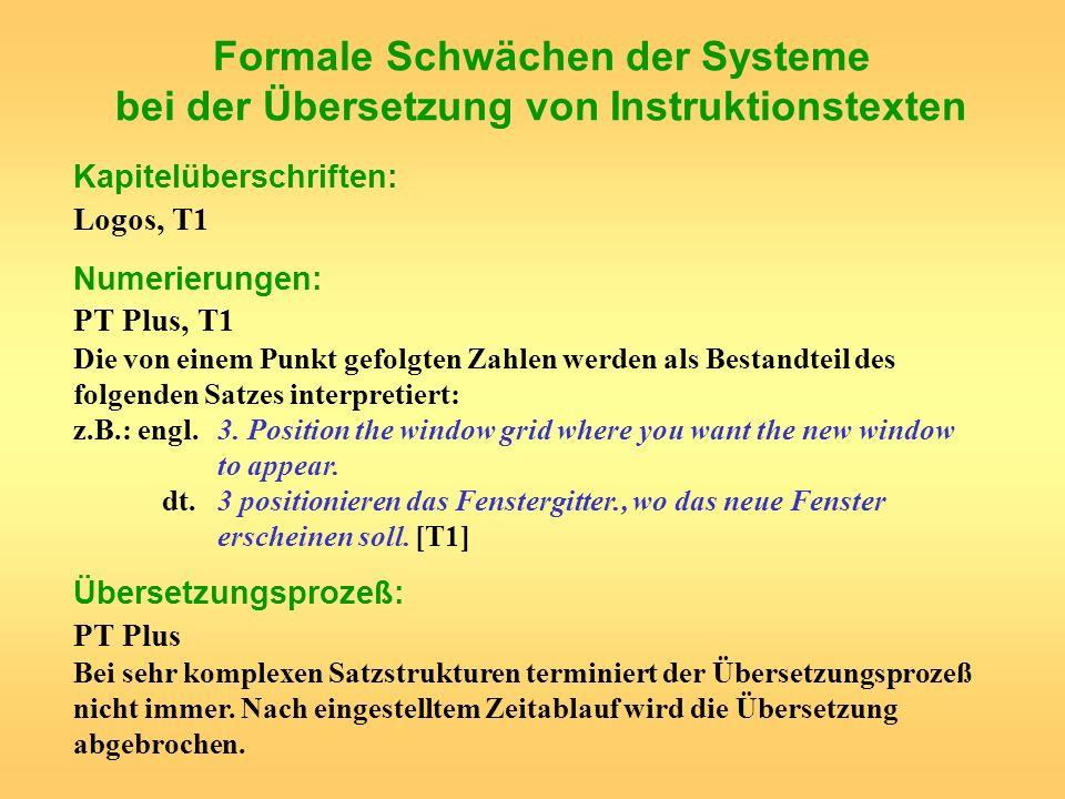 Formale Schwächen der Systeme bei der Übersetzung von Instruktionstexten Kapitelüberschriften: Logos, T1 Numerierungen: PT Plus, T1 Die von einem Punk