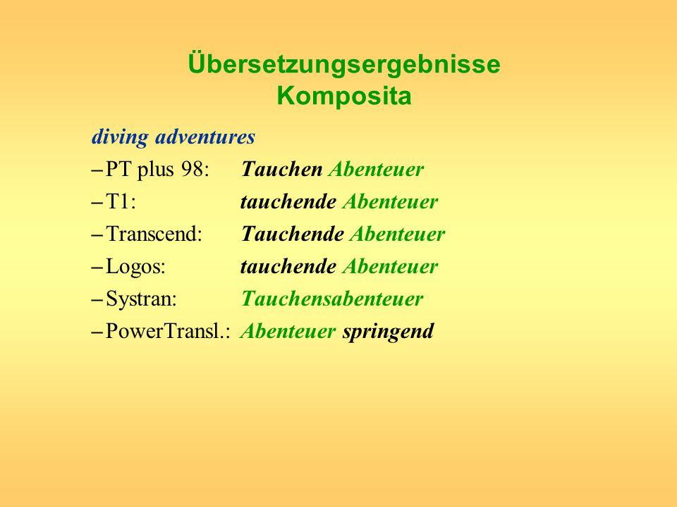 Übersetzungsergebnisse Komposita diving adventures –PT plus 98: Tauchen Abenteuer –T1: tauchende Abenteuer –Transcend:Tauchende Abenteuer –Logos:tauch