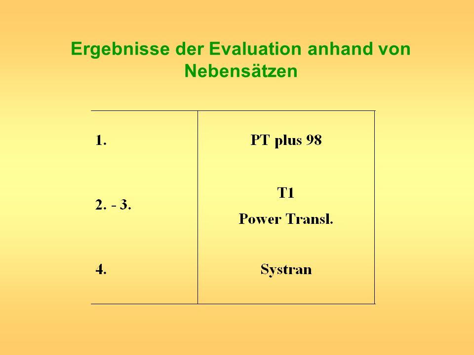 Ergebnisse der Evaluation anhand von Nebensätzen