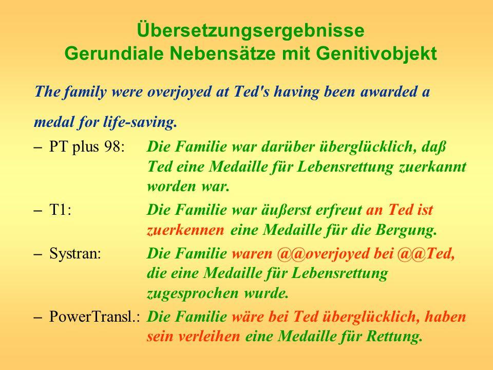 Übersetzungsergebnisse Gerundiale Nebensätze mit Genitivobjekt The family were overjoyed at Ted's having been awarded a medal for life-saving. –PT plu