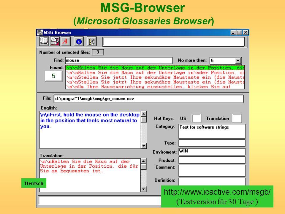 MSG-Browser (Microsoft Glossaries Browser) http://www.icactive.com/msgb/ (Testversion für 30 Tage ) Deutsch