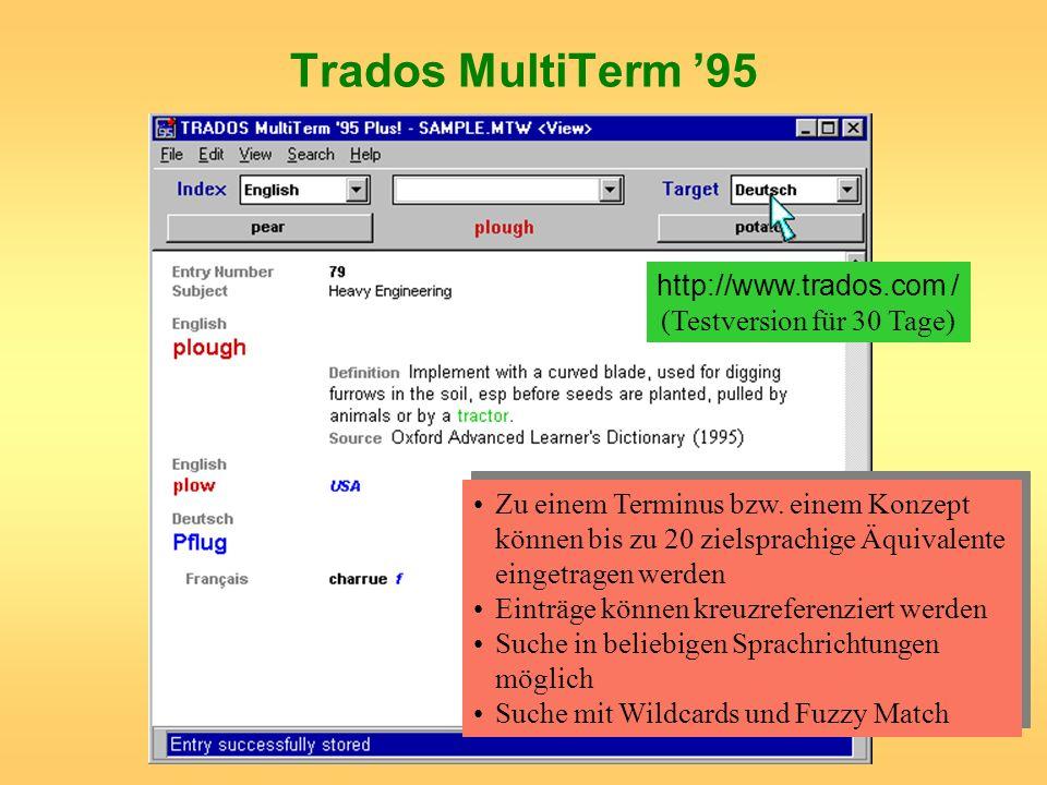 Trados MultiTerm 95 http://www.trados.com / (Testversion für 30 Tage) Zu einem Terminus bzw. einem Konzept können bis zu 20 zielsprachige Äquivalente