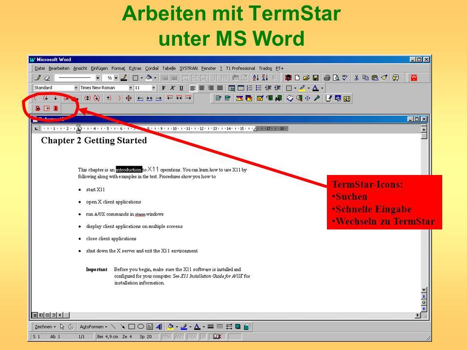 Arbeiten mit TermStar unter MS Word TermStar-Icons: Suchen Schnelle Eingabe Wechseln zu TermStar
