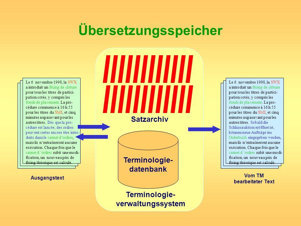 Übersetzungsspeicher Terminologie- datenbank Satzarchiv Terminologie- verwaltungssystem Le 6 novembre 1998, la SWX a introduit un fixing de clôture po