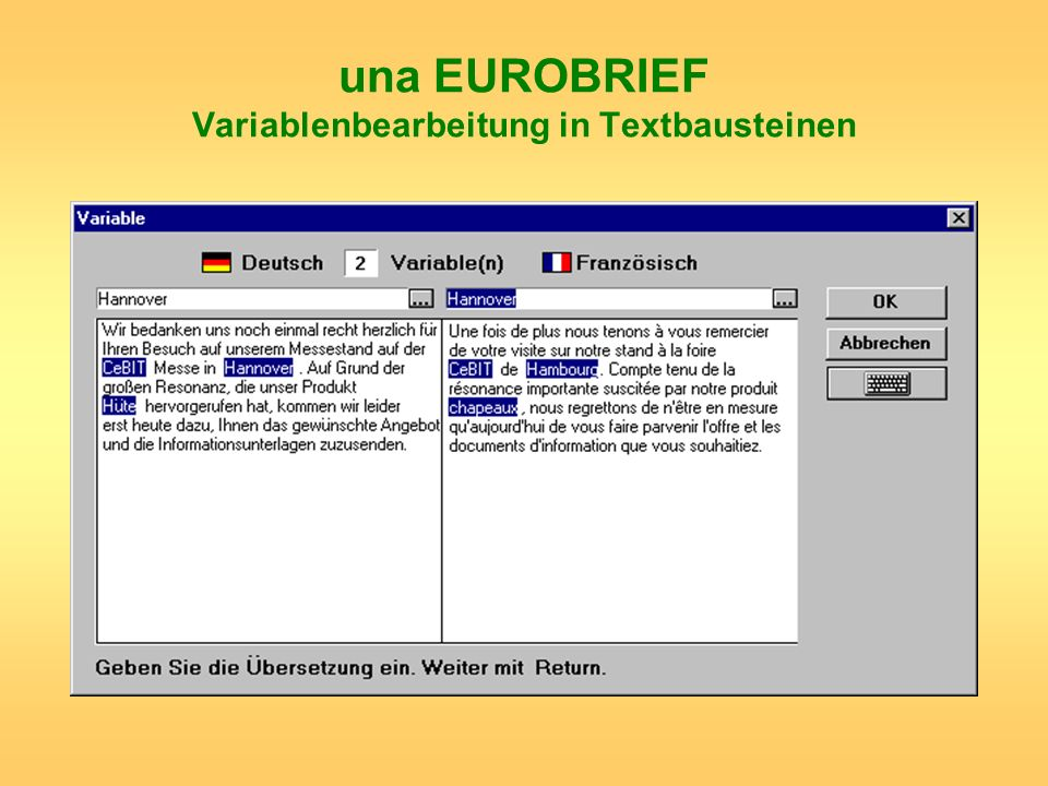 una EUROBRIEF Variablenbearbeitung in Textbausteinen
