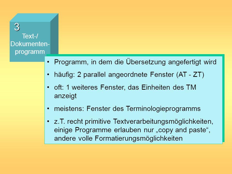 3 Text-/ Dokumenten- programm Programm, in dem die Übersetzung angefertigt wird häufig: 2 parallel angeordnete Fenster (AT - ZT) oft: 1 weiteres Fenst