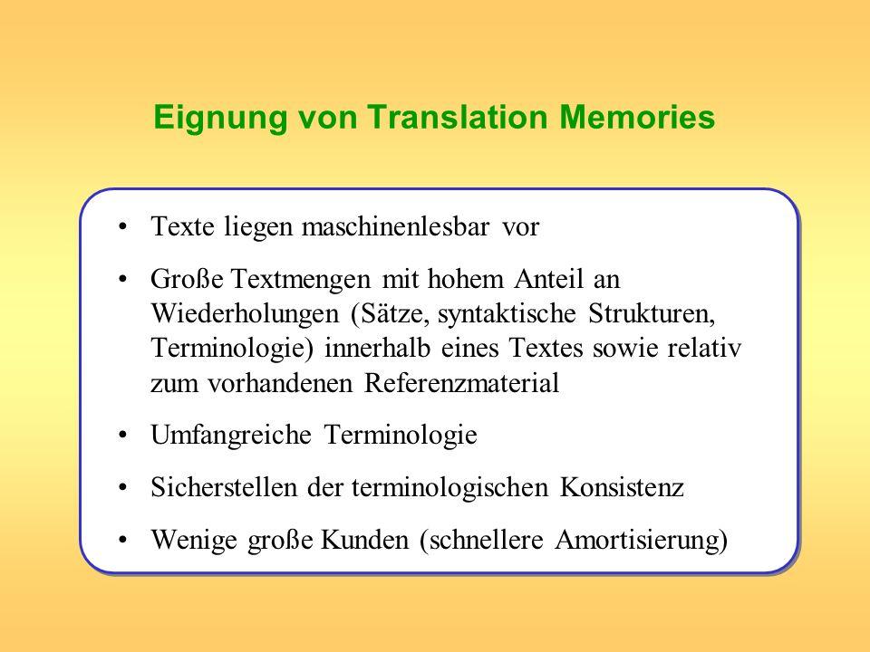 Eignung von Translation Memories Texte liegen maschinenlesbar vor Große Textmengen mit hohem Anteil an Wiederholungen (Sätze, syntaktische Strukturen,
