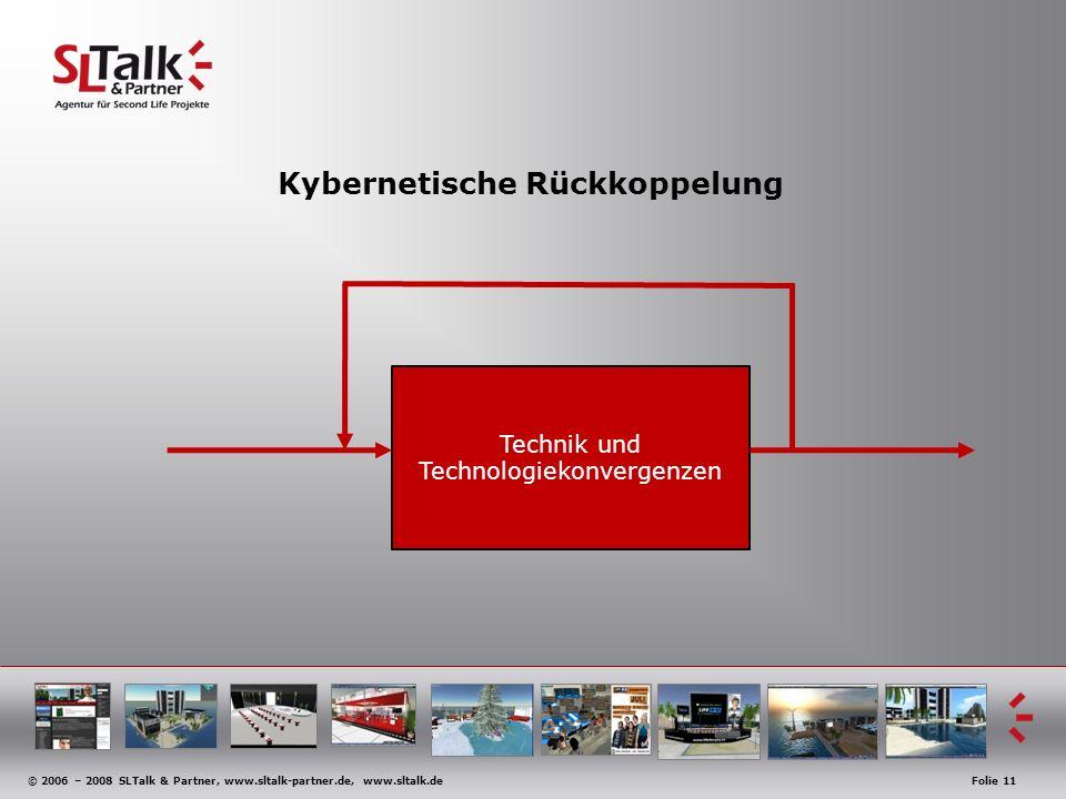 © 2006 – 2008 SLTalk & Partner, www.sltalk-partner.de, www.sltalk.deFolie 11 Kybernetische Rückkoppelung Technik und Technologiekonvergenzen