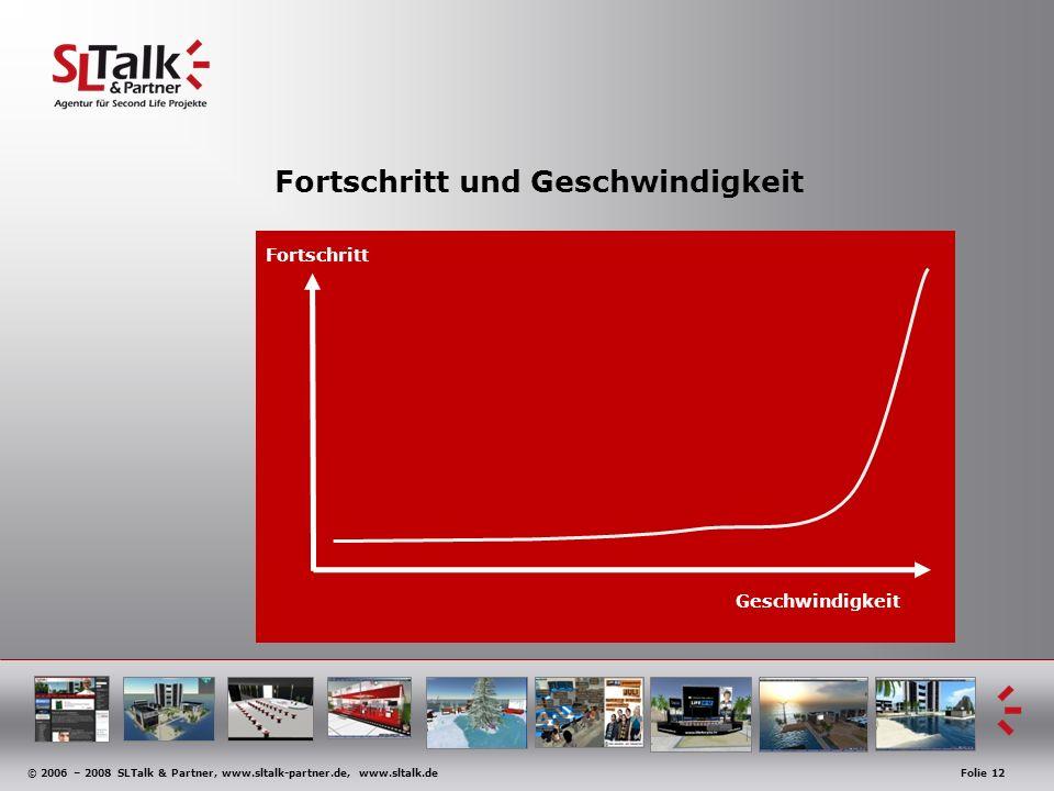 © 2006 – 2008 SLTalk & Partner, www.sltalk-partner.de, www.sltalk.deFolie 12 Fortschritt und Geschwindigkeit Geschwindigkeit Fortschritt
