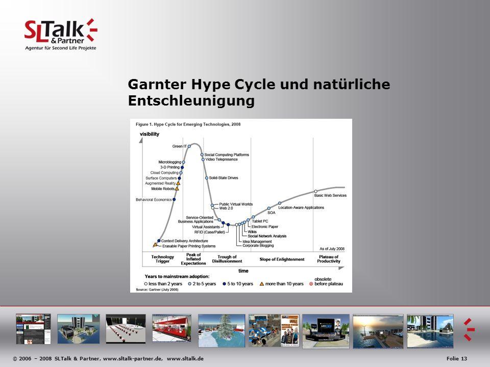 © 2006 – 2008 SLTalk & Partner, www.sltalk-partner.de, www.sltalk.deFolie 13 Garnter Hype Cycle und natürliche Entschleunigung