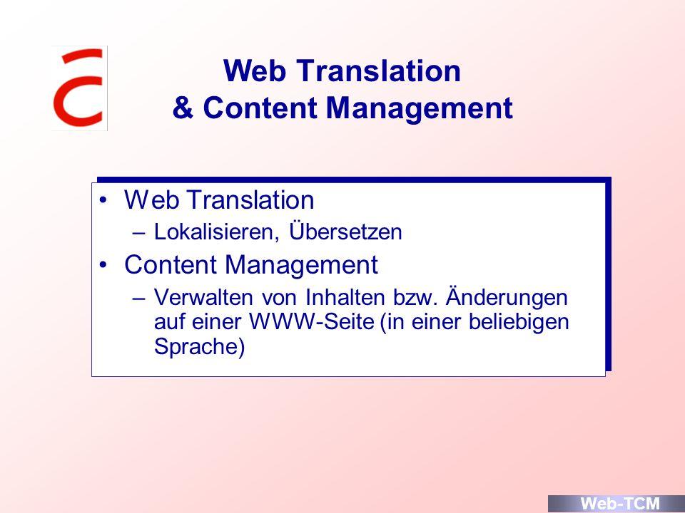 Web Translation & Content Management Web Translation –Lokalisieren, Übersetzen Content Management –Verwalten von Inhalten bzw. Änderungen auf einer WW
