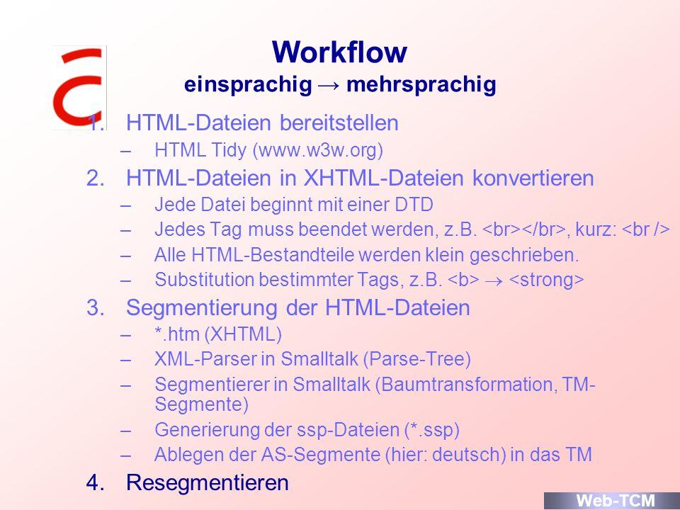 Workflow einsprachig mehrsprachig 1.HTML-Dateien bereitstellen –HTML Tidy (www.w3w.org) 2.HTML-Dateien in XHTML-Dateien konvertieren –Jede Datei begin