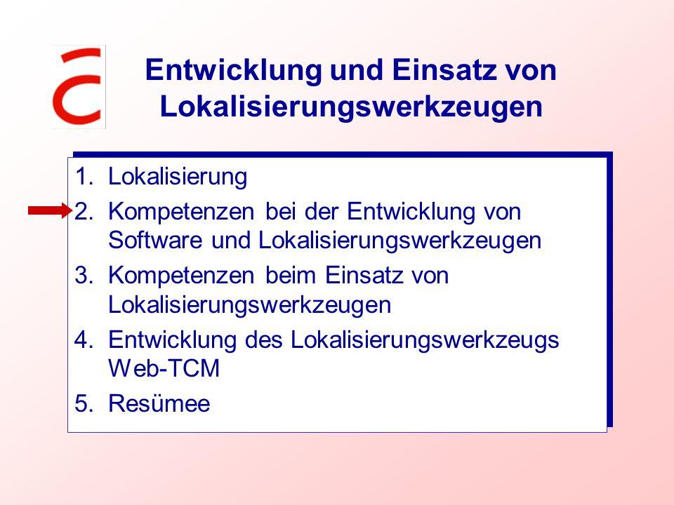 Entwicklung und Einsatz von Lokalisierungswerkzeugen 1.Lokalisierung 2.Kompetenzen bei der Entwicklung von Software und Lokalisierungswerkzeugen 3.Kom