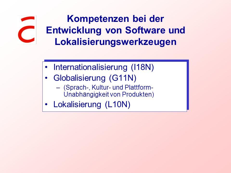 Kompetenzen bei der Entwicklung von Software und Lokalisierungswerkzeugen Internationalisierung (I18N) Globalisierung (G11N) –(Sprach-, Kultur- und Pl