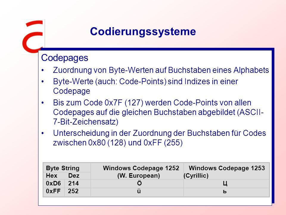 Codierungssysteme Codepages Zuordnung von Byte-Werten auf Buchstaben eines Alphabets Byte-Werte (auch: Code-Points) sind Indizes in einer Codepage Bis