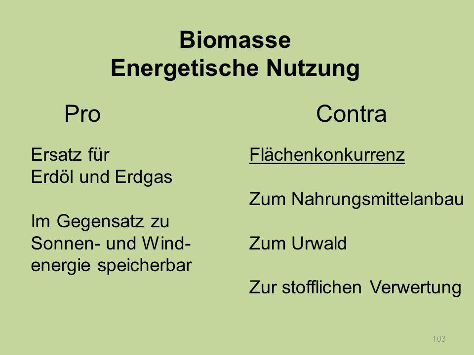 104 Ersatz für Erdöl und Erdgas Im Gegensatz zu Sonnen- und Wind- energie speicherbar Flächenkonkurrenz Zum Nahrungsmittelanbau Zum Urwald Zur stofflichen Verwertung Biomasse Energetische Nutzung ProContra Klimaschädlich