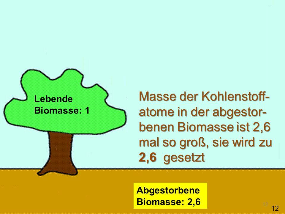 13 Lebende Biomasse: 1 Abgestorbene Biomasse: 2,6 Atmosphäre: 1,3 Masse der Kohlenstoffatome in der Atmosphäre ist 1,3 mal so groß wie in der lebenden Biomasse.
