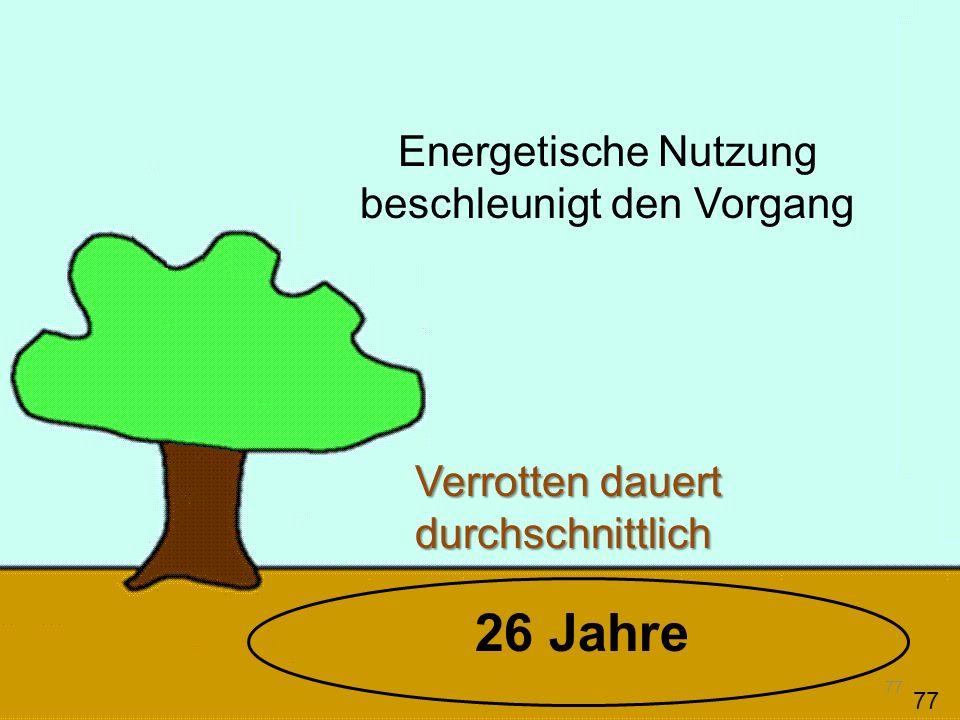 Verbrennen V e r r o t t e n 0,1 CO 2 Damit verlängert sich die Verweil- dauer und Masse des CO 2 in der Atmosphäre 78