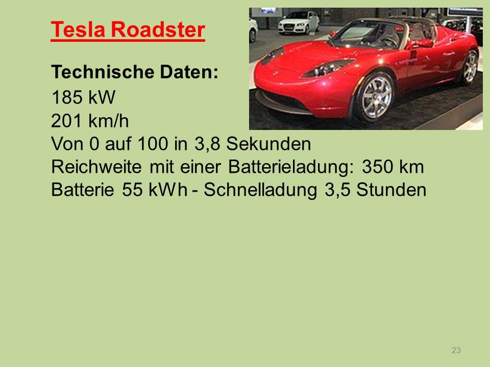 Tesla Roadster 23 Technische Daten: 185 kW 201 km/h Von 0 auf 100 in 3,8 Sekunden Reichweite mit einer Batterieladung: 350 km Batterie 55 kWh - Schnel
