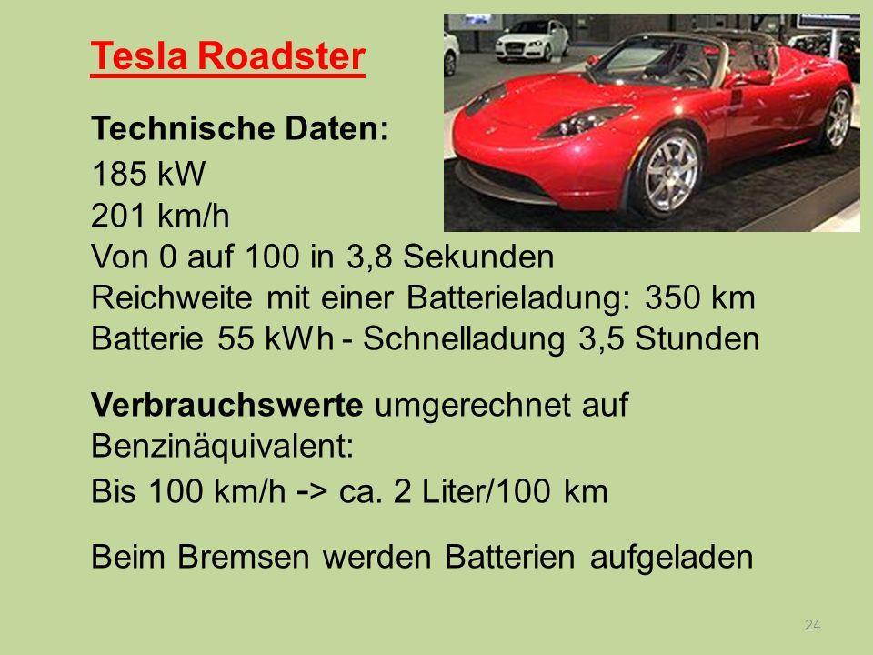 24 Technische Daten: 185 kW 201 km/h Von 0 auf 100 in 3,8 Sekunden Reichweite mit einer Batterieladung: 350 km Batterie 55 kWh - Schnelladung 3,5 Stun