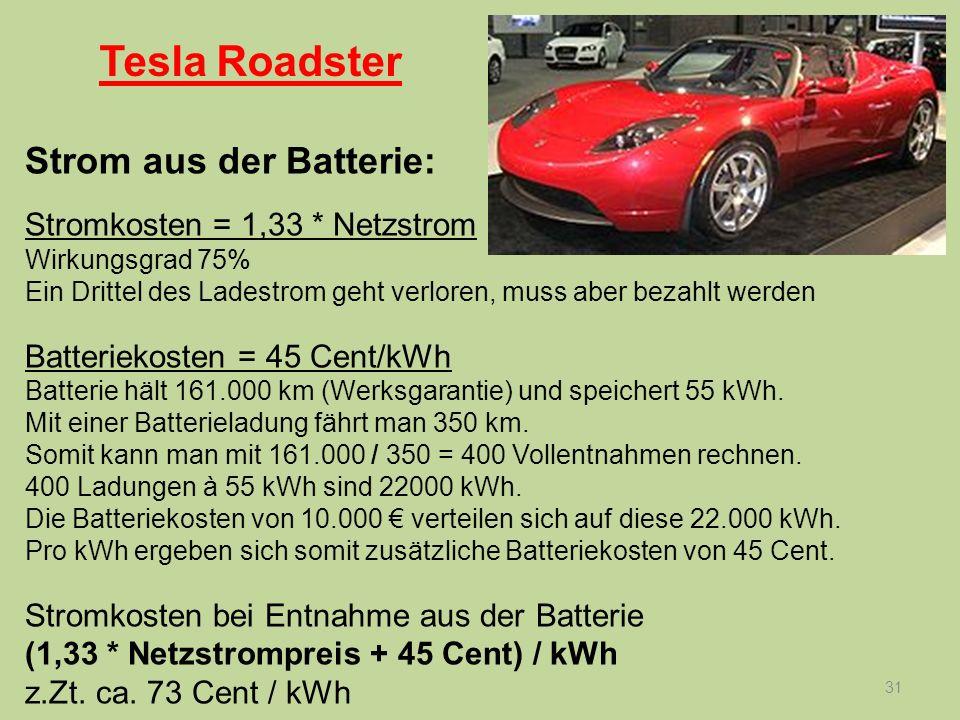 31 Strom aus der Batterie: Stromkosten = 1,33 * Netzstrom Wirkungsgrad 75% Ein Drittel des Ladestrom geht verloren, muss aber bezahlt werden Batteriek