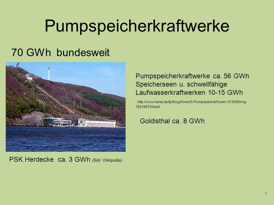 4 Starterbatterie Pumpspeicherkraftwerke Pumpspeicherkraftwerke ca. 56 GWh Speicherseen u. schwellfähige Laufwasserkraftwerken 10-15 GWh http://www.he