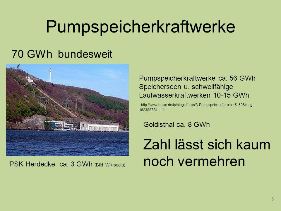 5 Starterbatterie Pumpspeicherkraftwerke Pumpspeicherkraftwerke ca. 56 GWh Speicherseen u. schwellfähige Laufwasserkraftwerken 10-15 GWh http://www.he