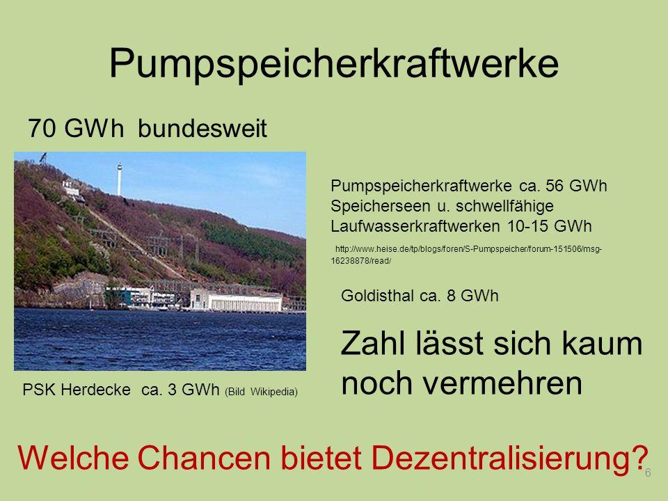 6 Starterbatterie Pumpspeicherkraftwerke Pumpspeicherkraftwerke ca. 56 GWh Speicherseen u. schwellfähige Laufwasserkraftwerken 10-15 GWh http://www.he