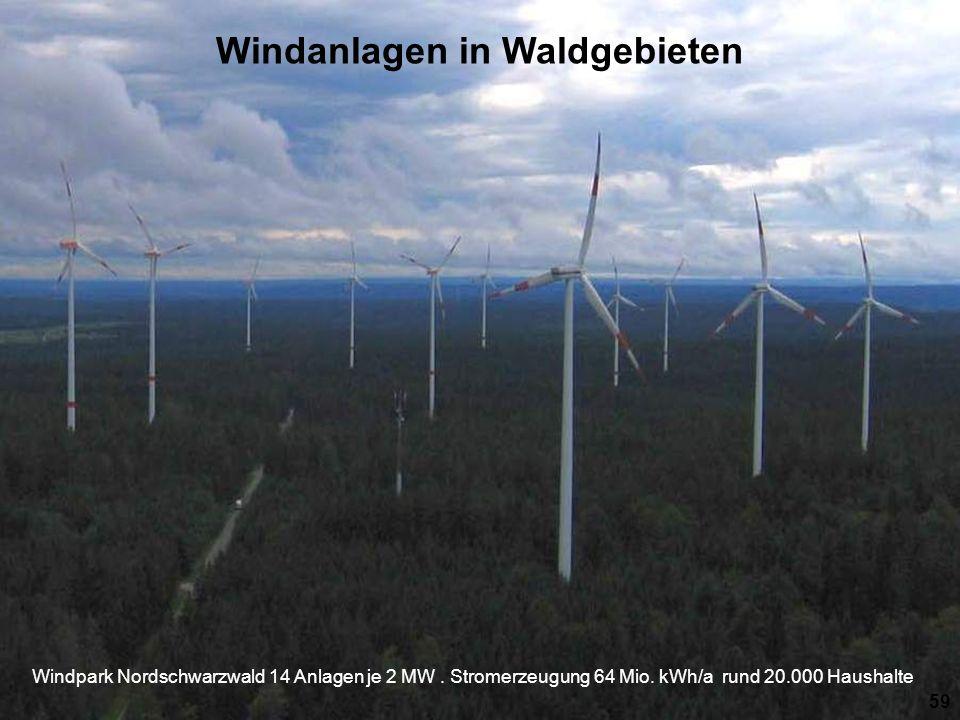 Windpark Nordschwarzwald 14 Anlagen je 2 MW.Stromerzeugung 64 Mio.