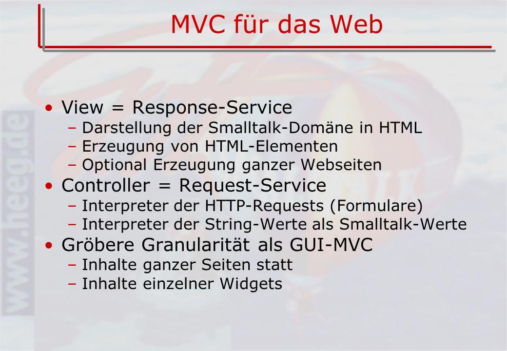 MVC für das Web View = Response-Service –Darstellung der Smalltalk-Domäne in HTML –Erzeugung von HTML-Elementen –Optional Erzeugung ganzer Webseiten Controller = Request-Service –Interpreter der HTTP-Requests (Formulare) –Interpreter der String-Werte als Smalltalk-Werte Gröbere Granularität als GUI-MVC –Inhalte ganzer Seiten statt –Inhalte einzelner Widgets