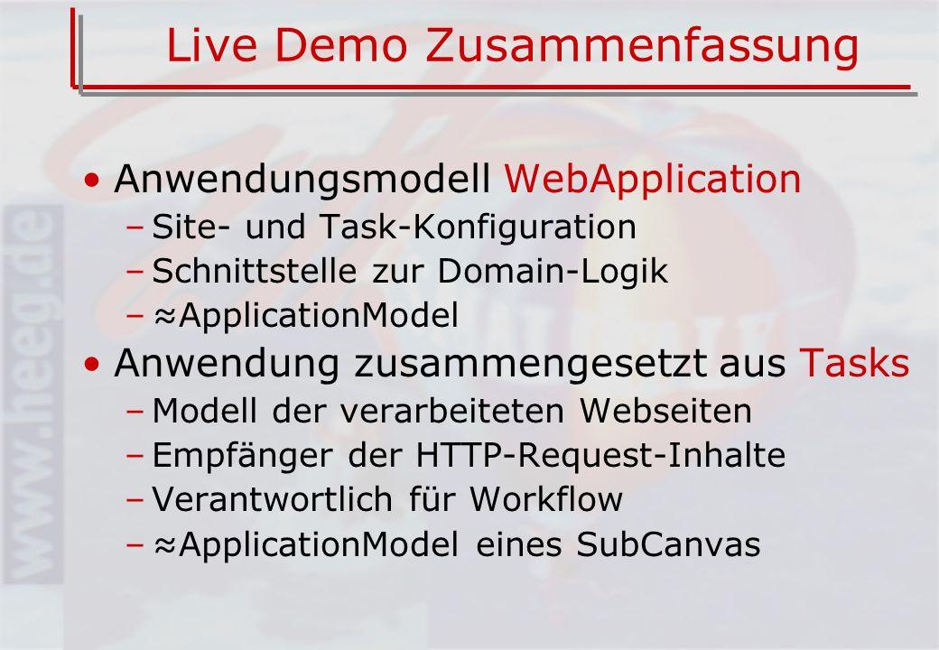 Live Demo Zusammenfassung Anwendungsmodell WebApplication –Site- und Task-Konfiguration –Schnittstelle zur Domain-Logik –ApplicationModel Anwendung zusammengesetzt aus Tasks –Modell der verarbeiteten Webseiten –Empfänger der HTTP-Request-Inhalte –Verantwortlich für Workflow –ApplicationModel eines SubCanvas