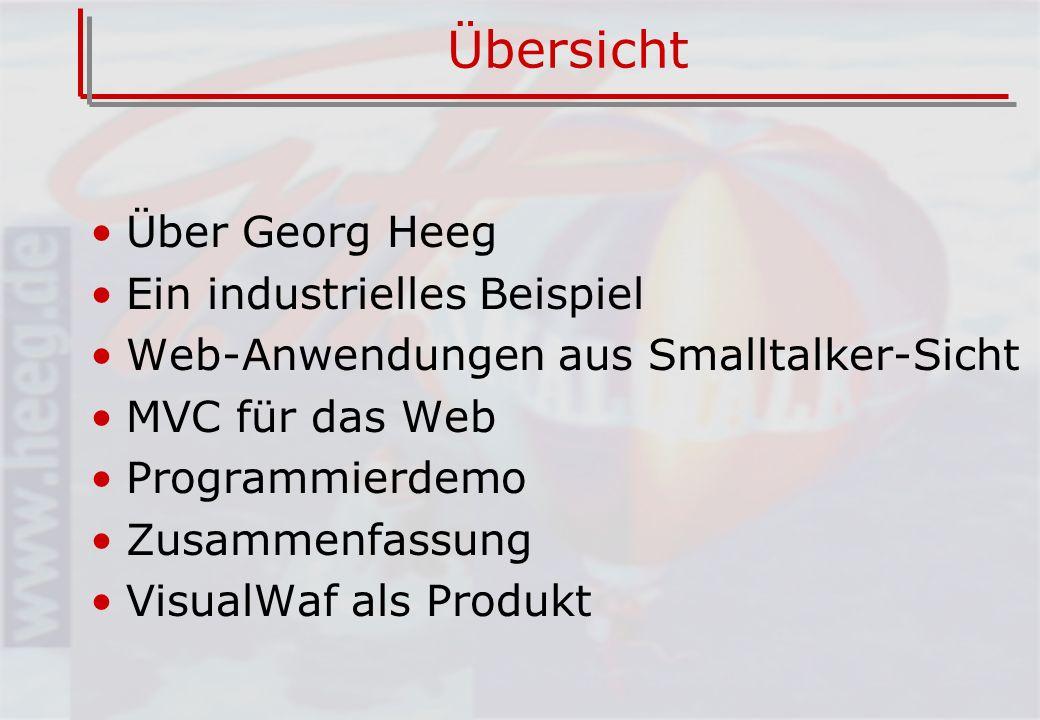 Über Georg Heeg eK 100% Smalltalk seit 1987 Geschäftsstellen in –Dortmund –Köthen (Anhalt) –Zürich (CH) Beratung und Produktentwicklung VisualWorks Support EMEA für Cincom Windows CE Plattform