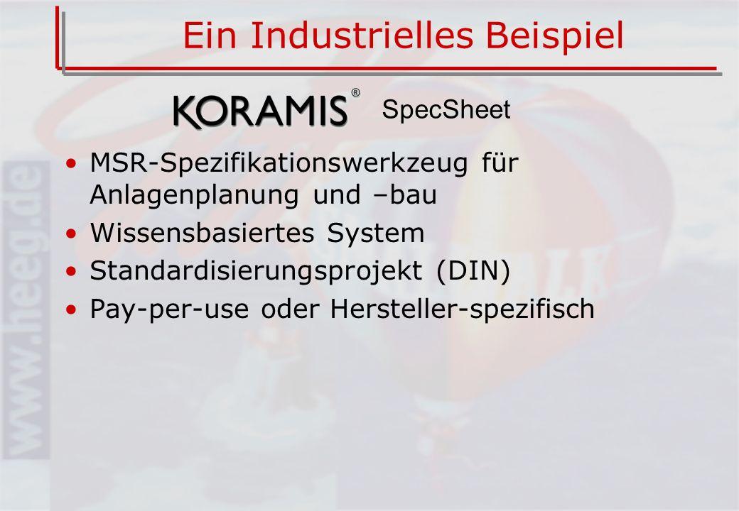 Ein Industrielles Beispiel MSR-Spezifikationswerkzeug für Anlagenplanung und –bau Wissensbasiertes System Standardisierungsprojekt (DIN) Pay-per-use oder Hersteller-spezifisch SpecSheet