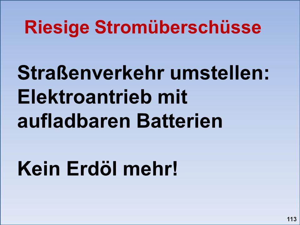 Straßenverkehr umstellen: Elektroantrieb mit aufladbaren Batterien Kein Erdöl mehr! Riesige Stromüberschüsse 113
