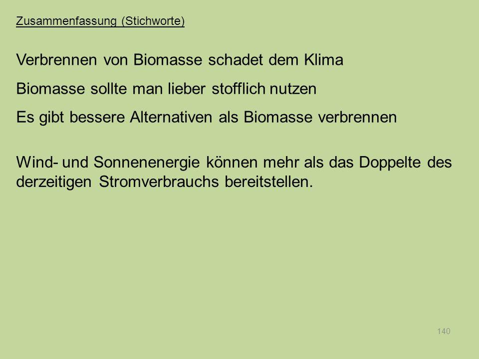 140 Verbrennen von Biomasse schadet dem Klima Biomasse sollte man lieber stofflich nutzen Es gibt bessere Alternativen als Biomasse verbrennen Wind- u
