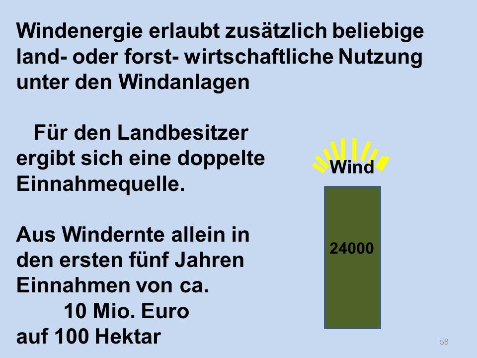 58 Windenergie erlaubt zusätzlich beliebige land- oder forst- wirtschaftliche Nutzung unter den Windanlagen Für den Landbesitzer ergibt sich eine dopp